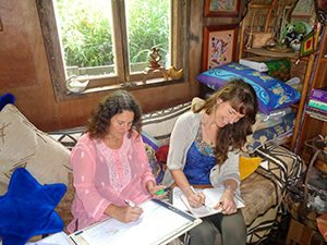 Erin and Robin working